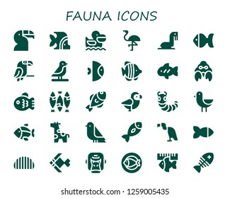 fauna icon set. 30 filled fauna icons. Simple modern icons about  - Toucan, Fish, Pelican, Flamingo, Sea lion, Parrot, Bird, Hermit crab, Caterpillar, Giraffe, Vulture, Gorilla