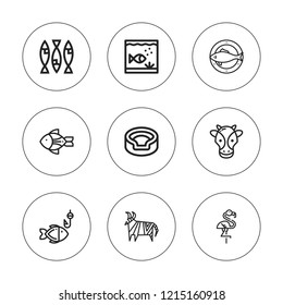 Fauna icon set. collection of 9 outline fauna icons with animal, aquarium, flamingo, fish icons. editable icons.