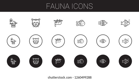 fauna icons set. Collection of fauna with walrus, tiger, sloth, fish, fishes. Editable and scalable fauna icons.