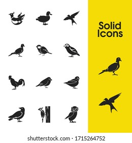 Fauna icons set with owl, swallow and tit bird elements. Set of fauna icons and finch concept. Editable vector elements for logo app UI design.