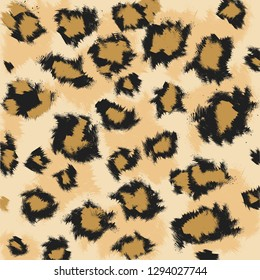 Faux leopard skin pattern with black and brown spots on brown (beige) background. Vector - EPS.
