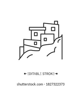 Favelas line icon. Low-income, slum neighborhood in Brazil. Ruined or abandoned buildings in the mountains of Rio de Janeiro. Brazilian housing. Isolated vector illustration. Editable stroke