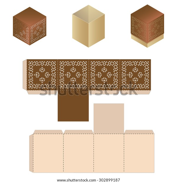 Favor Box Design Craft Lace Tent Stock Vector (Royalty Free