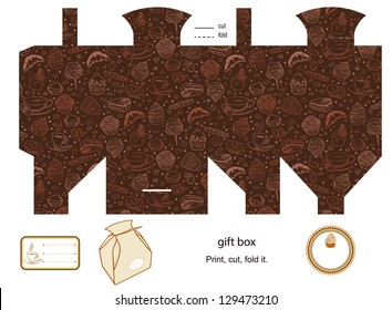 Favor, gift, product box die cut.  Coffee and cupcakes pattern. Empty label. Designer template.
