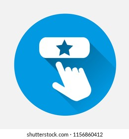 Favorit  button vector icon with a  with long shadow. The hand presses the add favorite button on the Internet. Layers grouped for easy editing illustration. For your design.