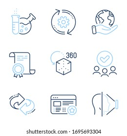 Favorite, Augmented reality and Chemistry lab line icons set. Diploma certificate, save planet, group of people. Cogwheel, Face id and Refresh signs. Star feedback, Virtual reality, Laboratory. Vector