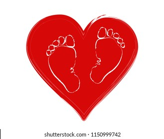 Favorite baby feet (girls and boy) on the background of the heart. The concept of love, protection and motherhood. Children Protection Day.