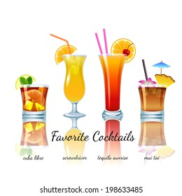 Favorite cocktails set isolated. Cuba Libre, Screwdriver, Tequila Sunrise, Mai Tai