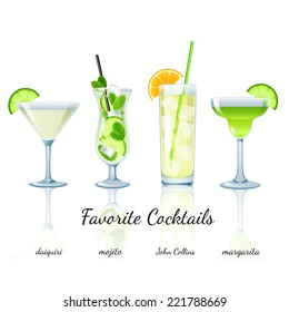 Favorite Cocktails Set isolated. Daiquiri, Mojito, John Collins and Margarita