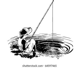 Favorite Fishing Hole - Retro Clipart Illustration