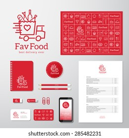 Favorite Food Delivery Abstract Vector Concept Icon or Logo Template with Corporate Identity and Stationary. Isolated.