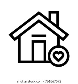 Favorite home flat line icon with a heart symbol. Bookmark real estate property linear vector illustration. Isolated on white background.