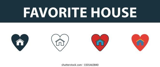 Favorite House icon set. Four elements in diferent styles from real estate icons collection. Creative favorite house icons filled, outline, colored and flat symbols.