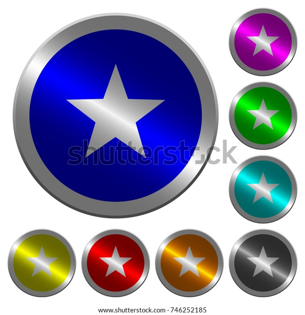 Favorite icons on round luminous coin-like color steel buttons