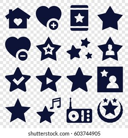 Favorite icons set. set of 16 favorite filled icons such as star, radio, favourite user