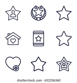Favorite icons set. set of 9 favorite outline icons such as star, add favorite, favourite user
