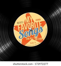 favorite songs, retro vinyl record
