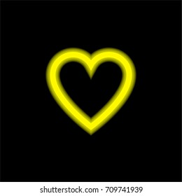 Favorite yellow glowing neon ui ux icon. Glowing sign logo vector