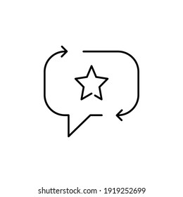 Favourite feedback line icon. Testimonials and customer relationship management concept. Bubble speech star outline style. Vector illustration isolated on white background. EPS 10.