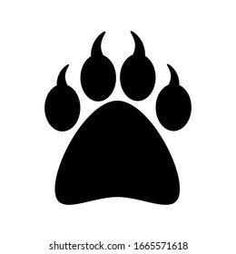 Faw print icons in flat style. Paws and black cat dogs. Animal footprint symbol with a white background for your website design, logo, application, UI Vector