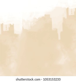 fawn beige watercolor silhouette pattern with blurred area and hard edged upper border, vector illustration