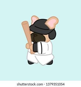 Fawn Coat French Bulldog Baseball Player Cartoon Vector Illustration