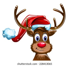 fawn in the hat of Santa Claus on white background vector