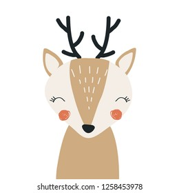Fawn. Vector illustration for printing on children's goods, packaging paper, fabric, postcards. Cute baby background.