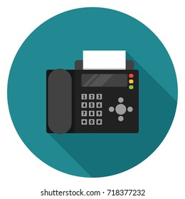 Fax icon. Illustration in flat style. Round icon with long shadow.