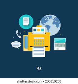 Fax icon with map in flat design. Set for web and mobile applications of office work