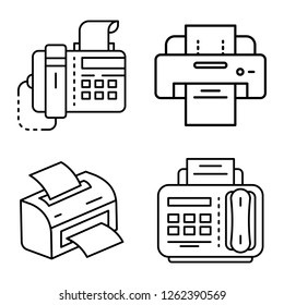 Fax icon set. Outline set of fax vector icons for web design isolated on white background