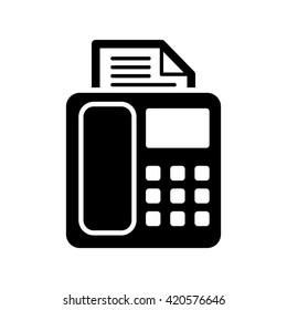 fax machine icon black on white background