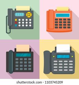Fax machine telephone icons set. Flat illustration of 4 fax machine telephone vector icons for web