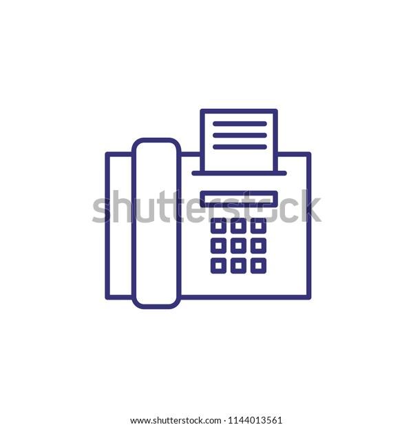 fax message line icon  fax machine, print, paper  communication concept  can