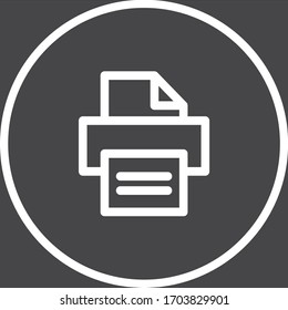 Fax white colored vector line icon with dark background