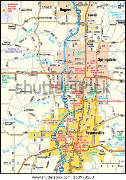 Fayetteville Arkansas Area Map Stock Vector (Royalty Free ...
