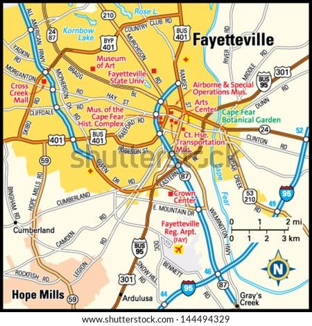 Fayetteville North Carolina Area Map Stock Vector Royalty Free