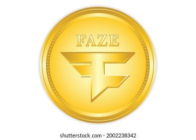 Faze coin crypto with golden colour, crypto currency. vector eps10