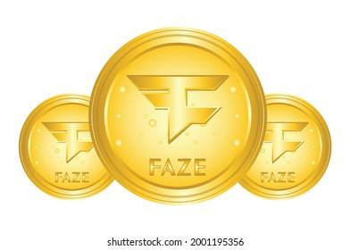 Faze coin crypto, faze logo with gold medal, for web, banner, sign, symbol, web,etc. vector eps10