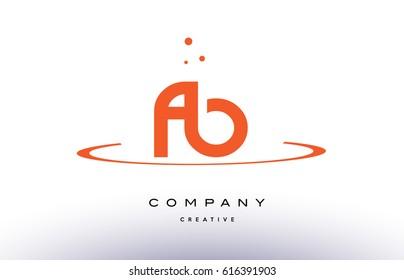 FB F B creative orange swoosh dots alphabet company letter logo design vector icon template