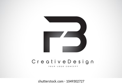FB F B Letter Logo Design in Black Colors. Creative Modern Letters Vector Icon Logo Illustration.