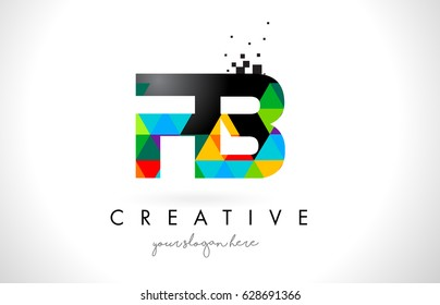FB F B Letter Logo with Colorful Vivid Triangles Texture Design Vector Illustration.