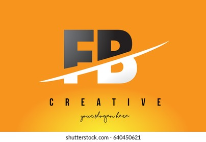 FB F B Letter Modern Logo Design with Swoosh Cutting the Middle Letters and Yellow Background.