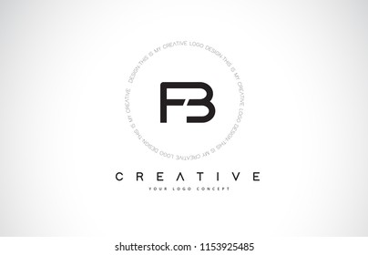 FB F B Logo Design with Black and White Creative Icon Text Letter Vector.