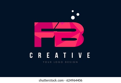 FB F B Purple Letter Logo Design with Low Poly Pink Triangles Concept