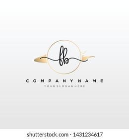 FB handwriting initial logo template vector.