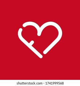 fb heart logo fb initials logo