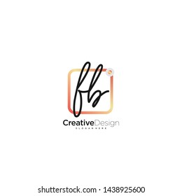 FB initial handwriting with color logo icon template vector.