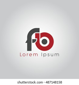 fb initial letter linked lowercase logo. f and b vector template design.