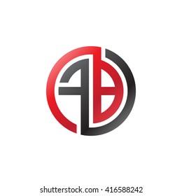 FB initial letters loop linked circle logo black red